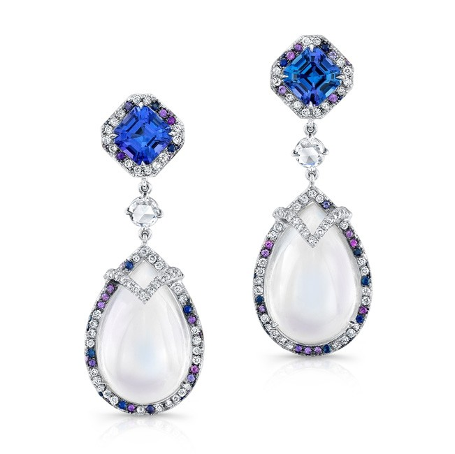 Moon Stone and Tanzanite Earrings