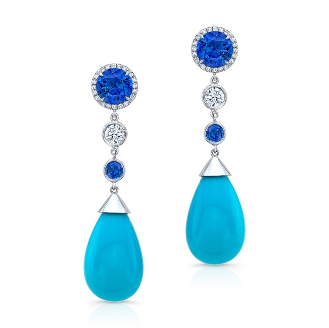 Turquoise and Sapphire Earrings