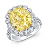 Yellow and White Diamond Ring