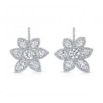 Fancy Shaped Diamond Flower Earrings