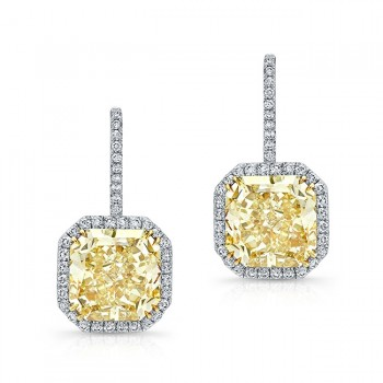 Yellow Diamond Radiant Cut Earrings