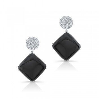 Black Cushion Stone Earrings