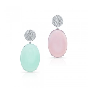 Green and Pink Moonstone Earrings